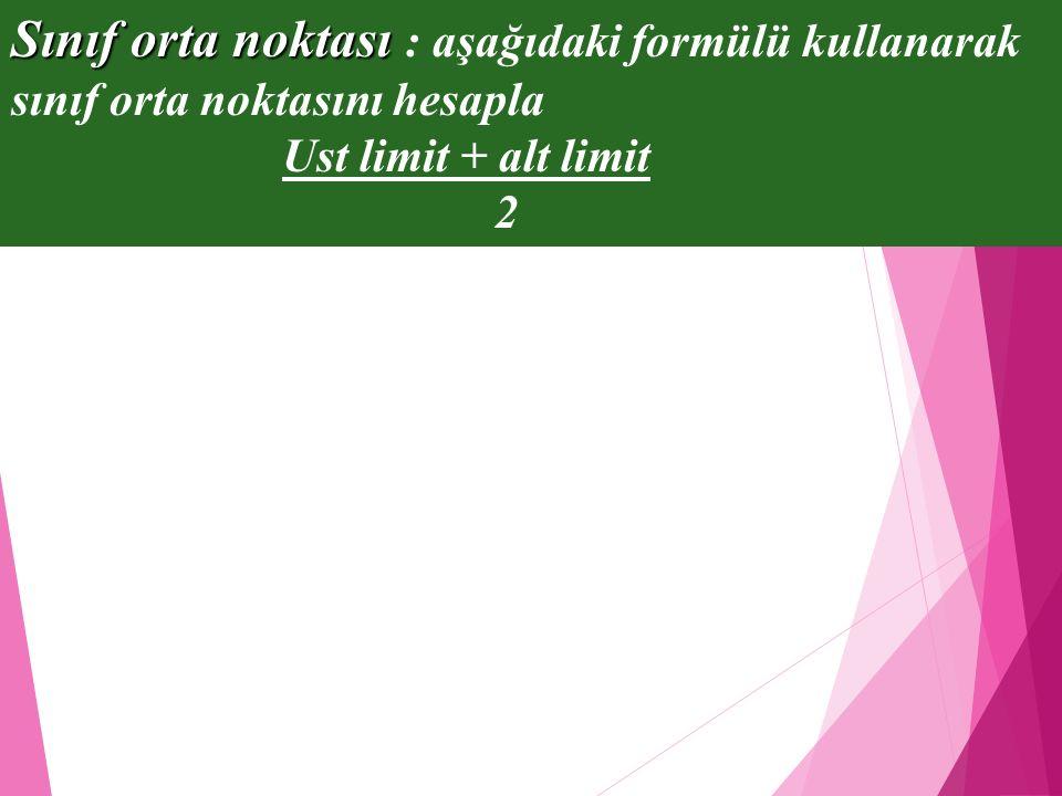 Sınıf orta noktası : aşağıdaki formülü kullanarak sınıf orta noktasını hesapla
