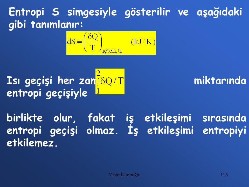 Entropi S simgesiyle gösterilir ve aşağıdaki gibi tanımlanır:
