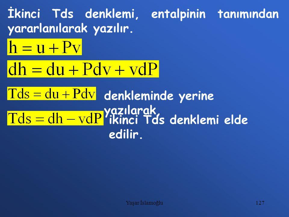 İkinci Tds denklemi, entalpinin tanımından yararlanılarak yazılır.