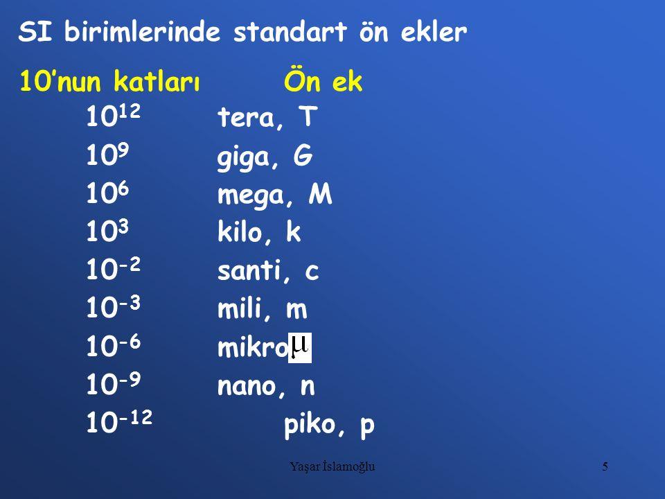 SI birimlerinde standart ön ekler 10'nun katları Ön ek 1012 tera, T
