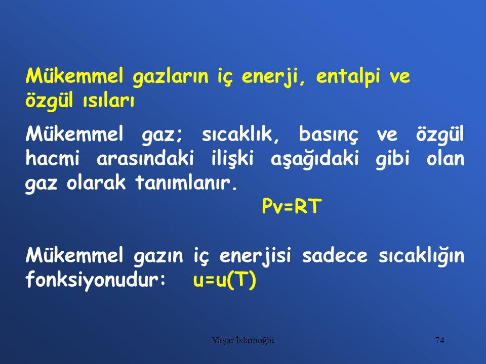 Mükemmel gazların iç enerji, entalpi ve özgül ısıları