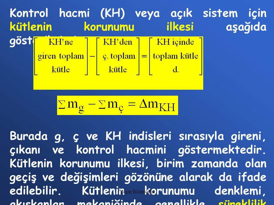 Kontrol hacmi (KH) veya açık sistem için kütlenin korunumu ilkesi aşağıda gösterilmiştir.