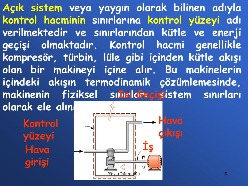 Açık sistem veya yaygın olarak bilinen adıyla kontrol hacminin sınırlarına kontrol yüzeyi adı verilmektedir ve sınırlarından kütle ve enerji geçişi olmaktadır. Kontrol hacmi genellikle kompresör, türbin, lüle gibi içinden kütle akışı olan bir makineyi içine alır. Bu makinelerin içindeki akışın termodinamik çözümlemesinde, makinenin fiziksel sınırları sistem sınırları olarak ele alınır.