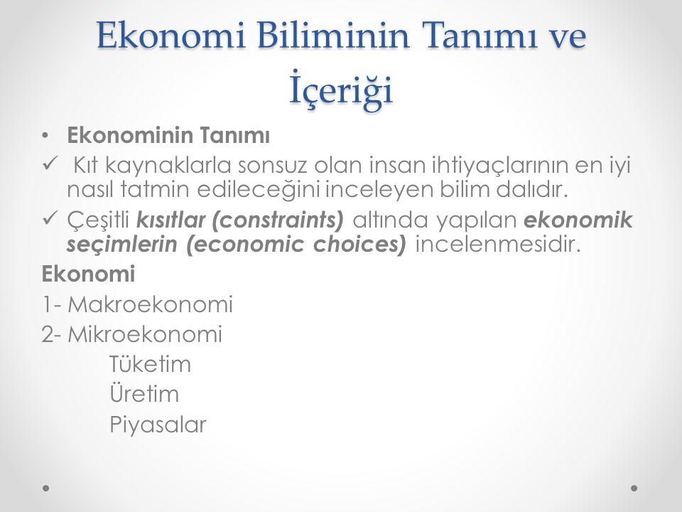 Ekonomi Biliminin Tanımı ve İçeriği