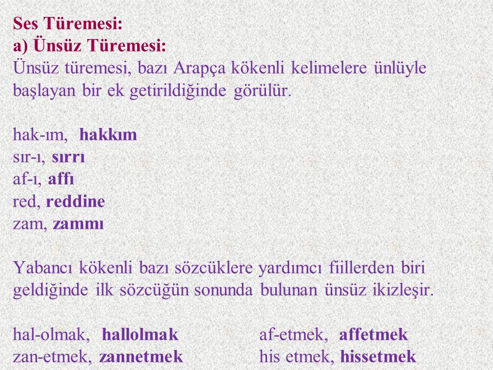 Ses Türemesi: a) Ünsüz Türemesi: Ünsüz türemesi, bazı Arapça kökenli kelimelere ünlüyle başlayan bir ek getirildiğinde görülür.