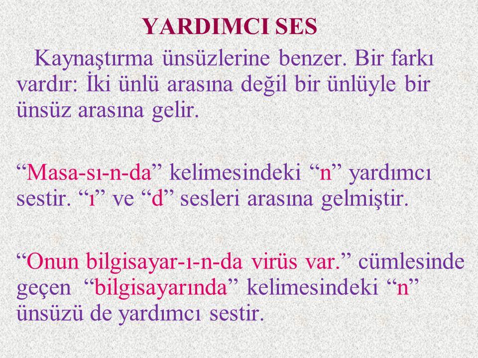 YARDIMCI SES Kaynaştırma ünsüzlerine benzer. Bir farkı vardır: İki ünlü arasına değil bir ünlüyle bir ünsüz arasına gelir.
