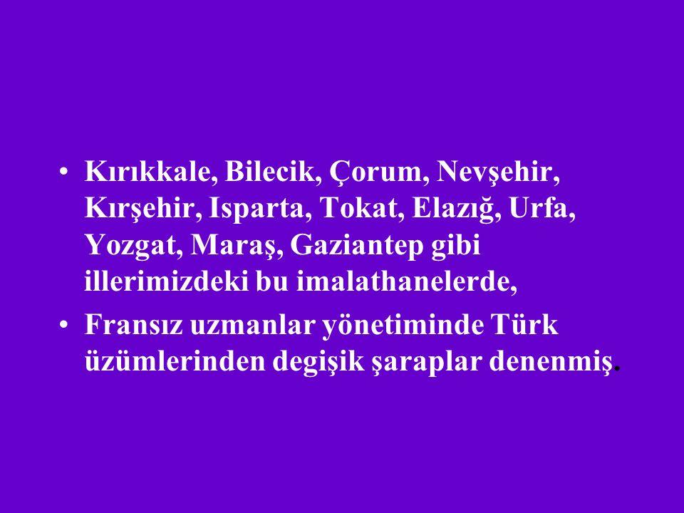 Kırıkkale, Bilecik, Çorum, Nevşehir, Kırşehir, Isparta, Tokat, Elazığ, Urfa, Yozgat, Maraş, Gaziantep gibi illerimizdeki bu imalathanelerde,