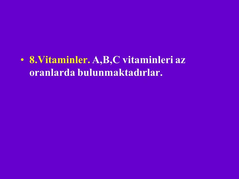 8.Vitaminler. A,B,C vitaminleri az oranlarda bulunmaktadırlar.