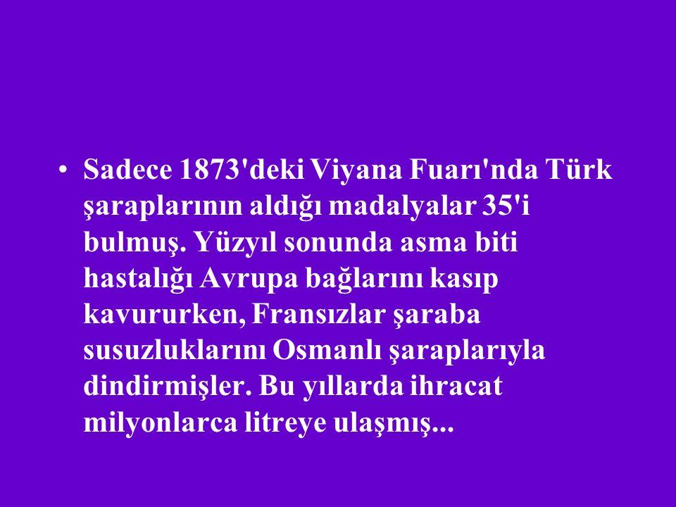 Sadece 1873 deki Viyana Fuarı nda Türk şaraplarının aldığı madalyalar 35 i bulmuş.