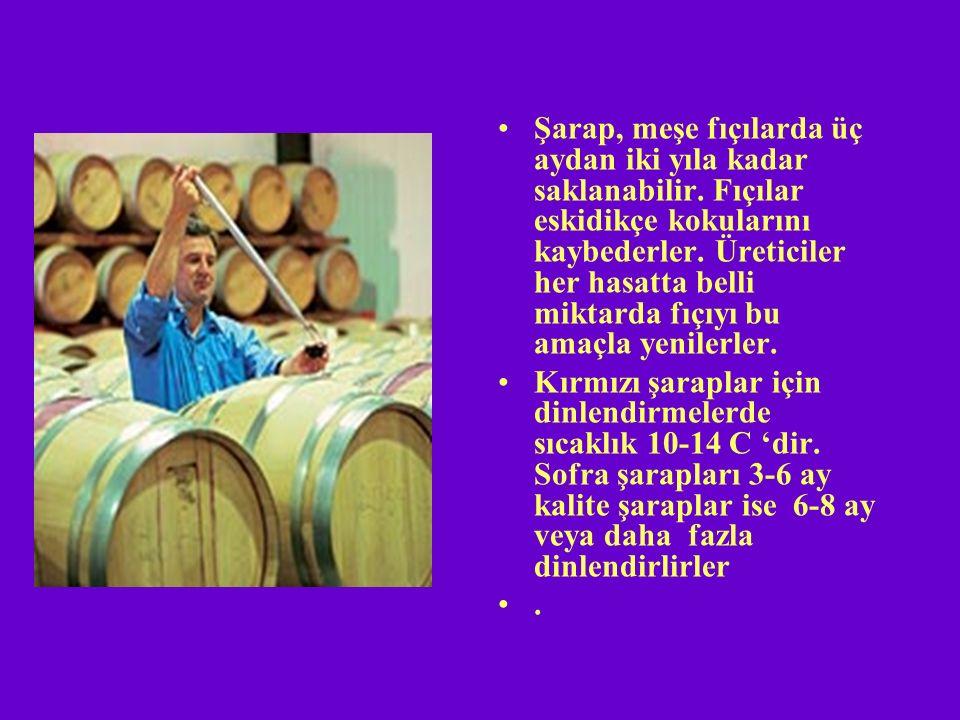 Şarap, meşe fıçılarda üç aydan iki yıla kadar saklanabilir