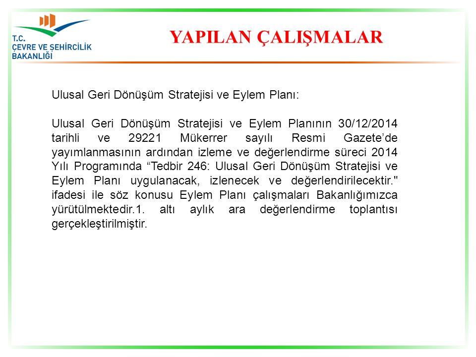YAPILAN ÇALIŞMALAR Ulusal Geri Dönüşüm Stratejisi ve Eylem Planı: