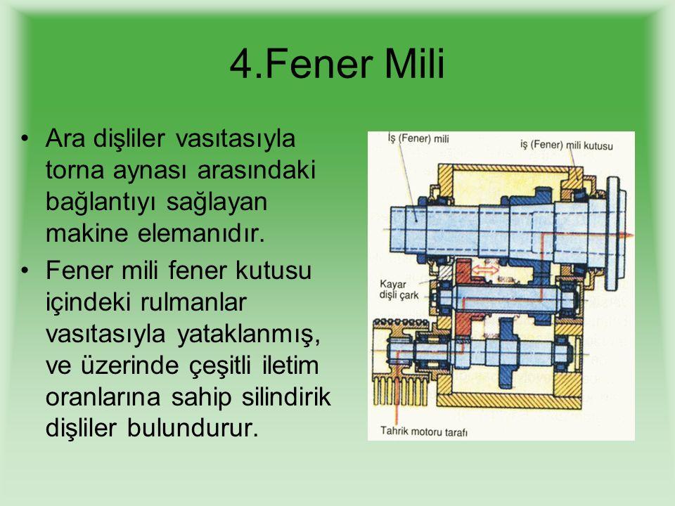 4.Fener Mili Ara dişliler vasıtasıyla torna aynası arasındaki bağlantıyı sağlayan makine elemanıdır.