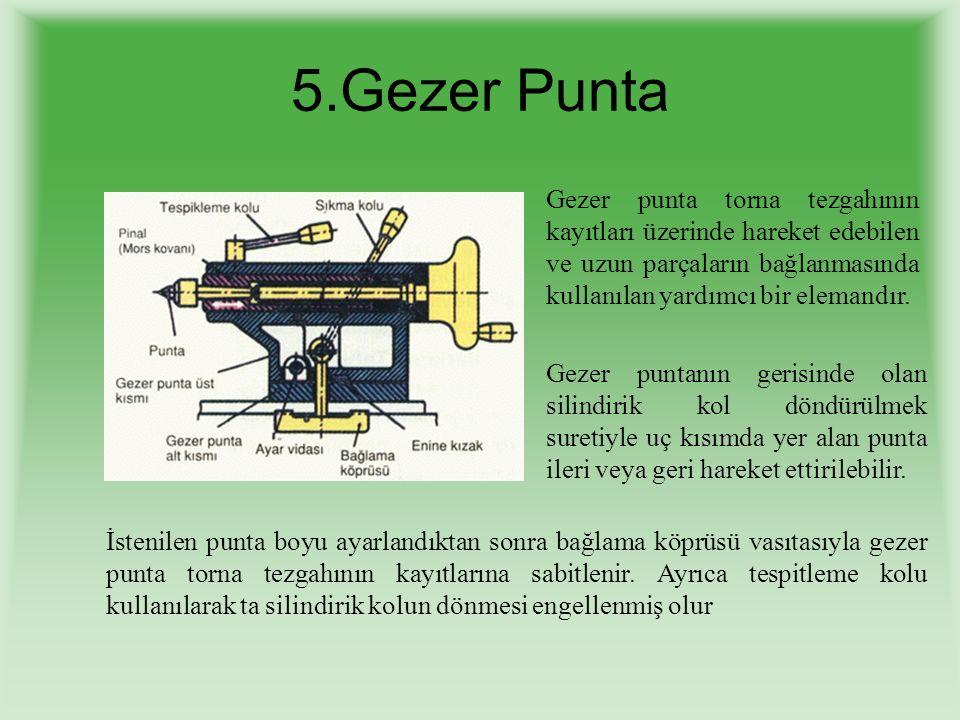 5.Gezer Punta Gezer punta torna tezgahının kayıtları üzerinde hareket edebilen ve uzun parçaların bağlanmasında kullanılan yardımcı bir elemandır.
