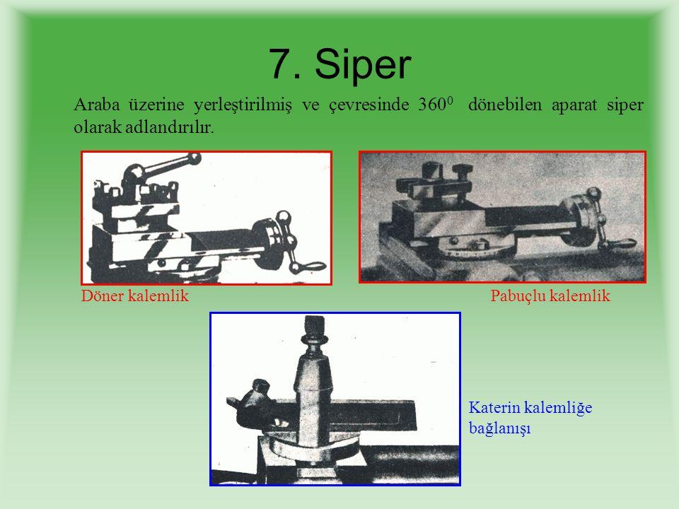7. Siper Araba üzerine yerleştirilmiş ve çevresinde 3600 dönebilen aparat siper olarak adlandırılır.