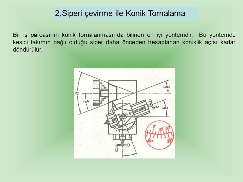 2,Siperi çevirme ile Konik Tornalama