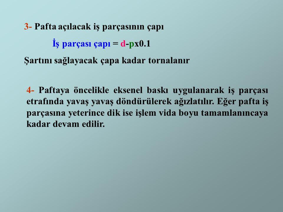 3- Pafta açılacak iş parçasının çapı