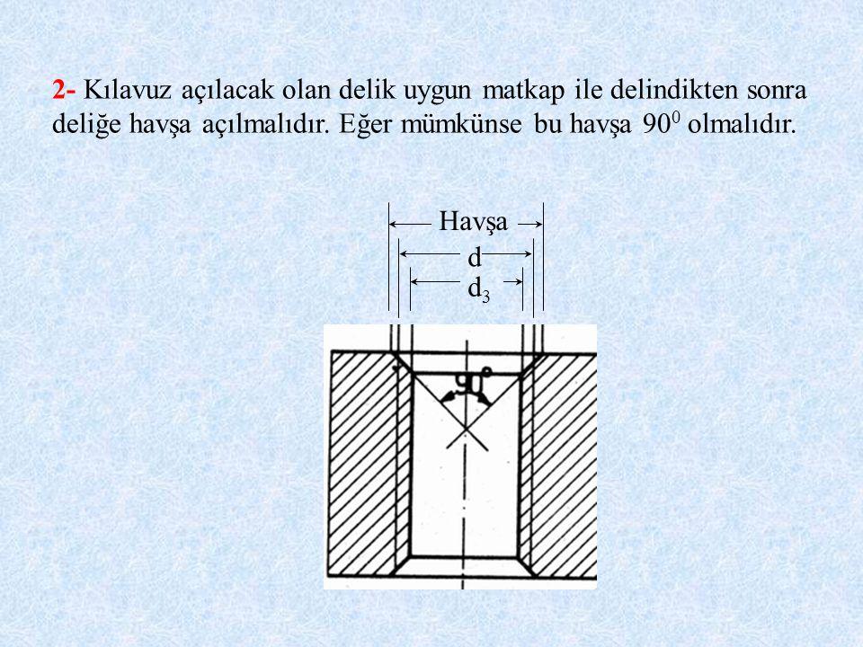 2- Kılavuz açılacak olan delik uygun matkap ile delindikten sonra deliğe havşa açılmalıdır. Eğer mümkünse bu havşa 900 olmalıdır.