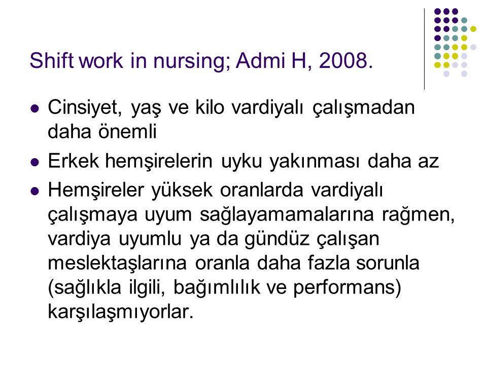 Shift work in nursing; Admi H, 2008.