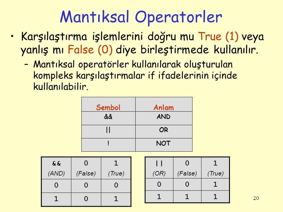 Mantıksal Operatorler