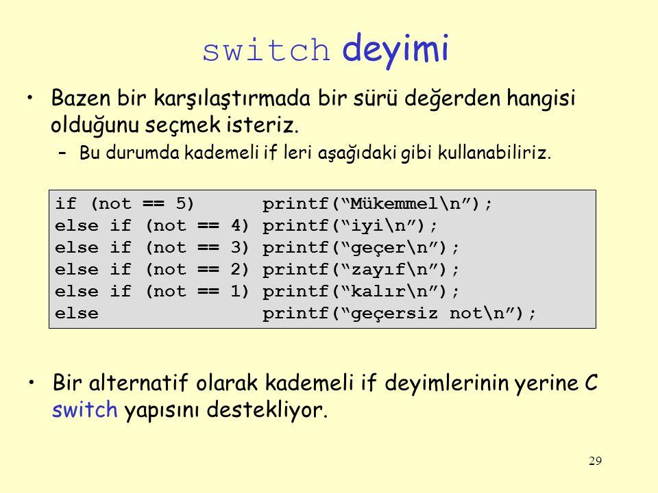 switch deyimi Bazen bir karşılaştırmada bir sürü değerden hangisi olduğunu seçmek isteriz.