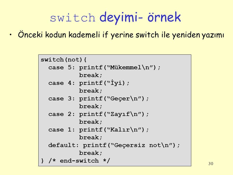 switch deyimi- örnek Önceki kodun kademeli if yerine switch ile yeniden yazımı. switch(not){ case 5: printf( Mükemmel\n );