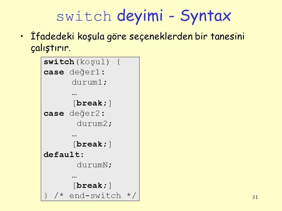 switch deyimi - Syntax İfadedeki koşula göre seçeneklerden bir tanesini çalıştırır. switch(koşul) {