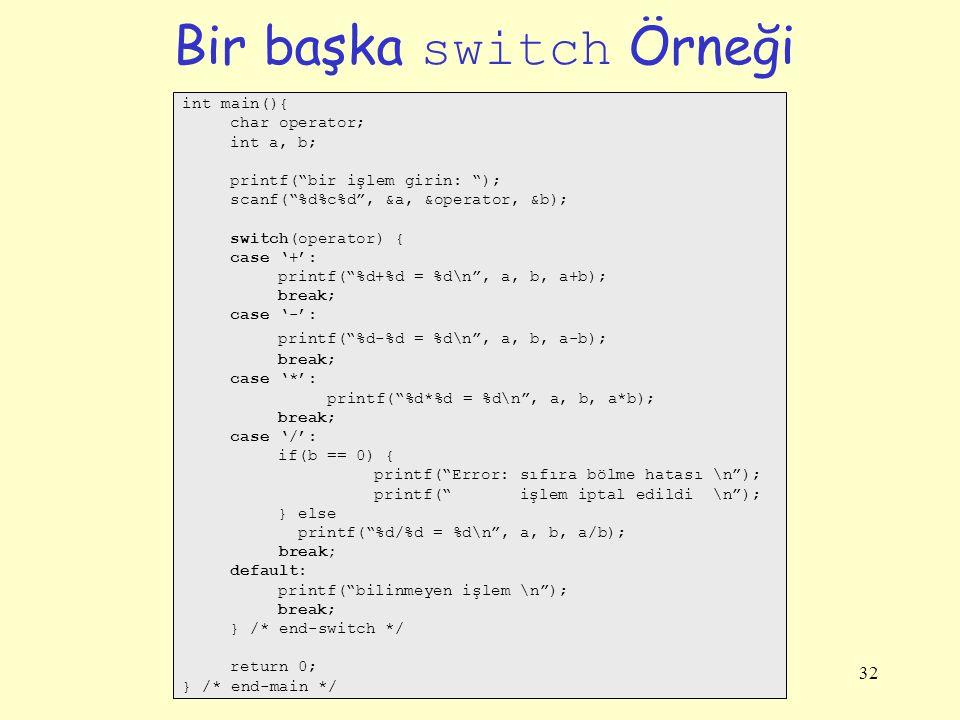 Bir başka switch Örneği