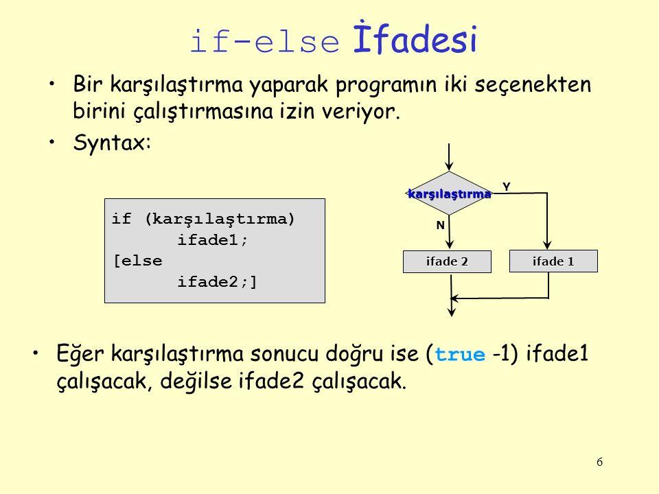 if-else İfadesi Bir karşılaştırma yaparak programın iki seçenekten birini çalıştırmasına izin veriyor.
