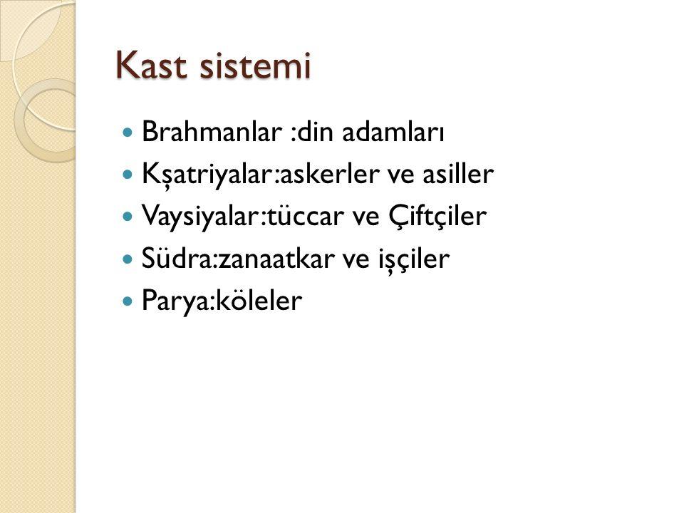 Kast sistemi Brahmanlar :din adamları Kşatriyalar:askerler ve asiller