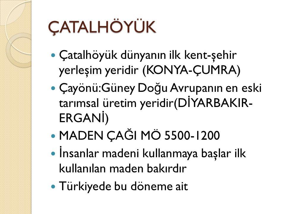 ÇATALHÖYÜK Çatalhöyük dünyanın ilk kent-şehir yerleşim yeridir (KONYA-ÇUMRA)