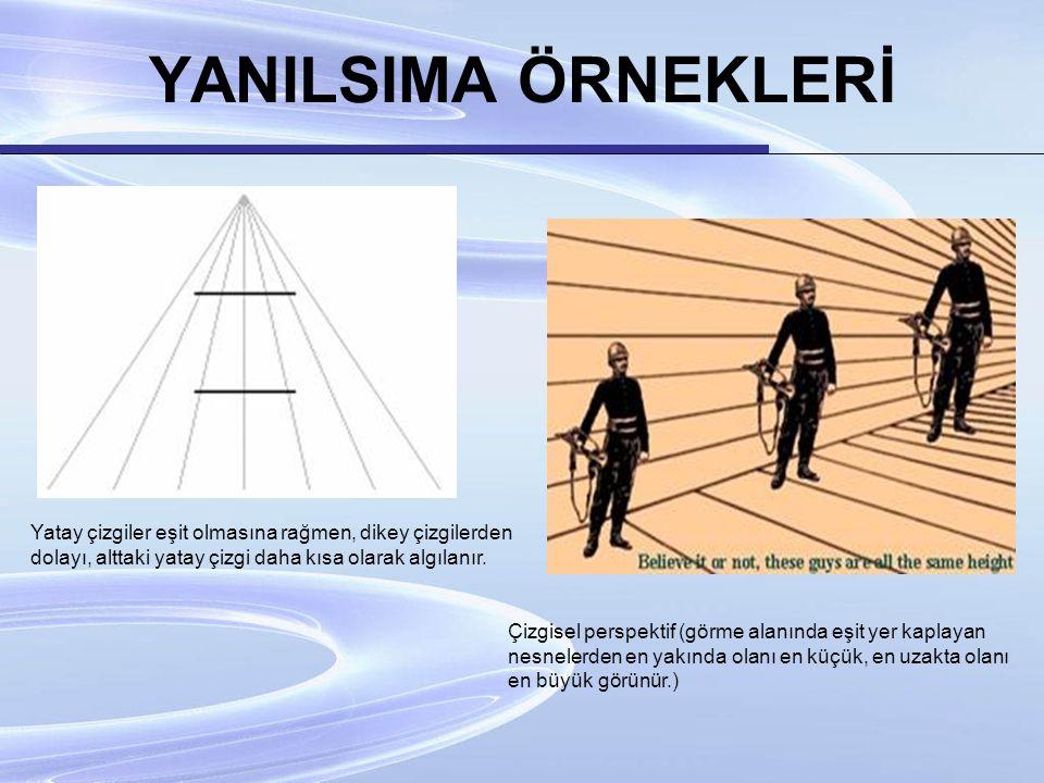 YANILSIMA ÖRNEKLERİ Yatay çizgiler eşit olmasına rağmen, dikey çizgilerden dolayı, alttaki yatay çizgi daha kısa olarak algılanır.