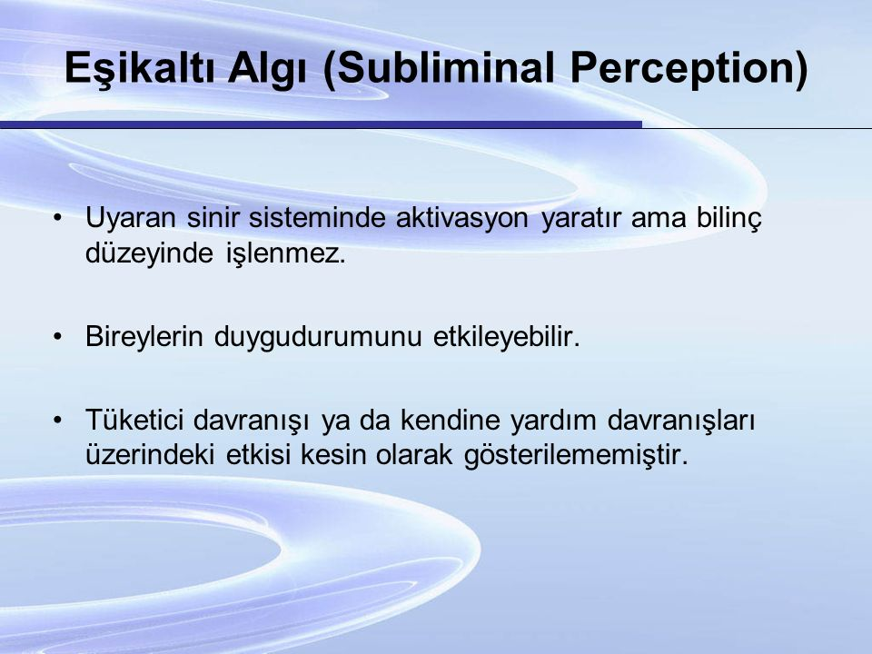 Eşikaltı Algı (Subliminal Perception)