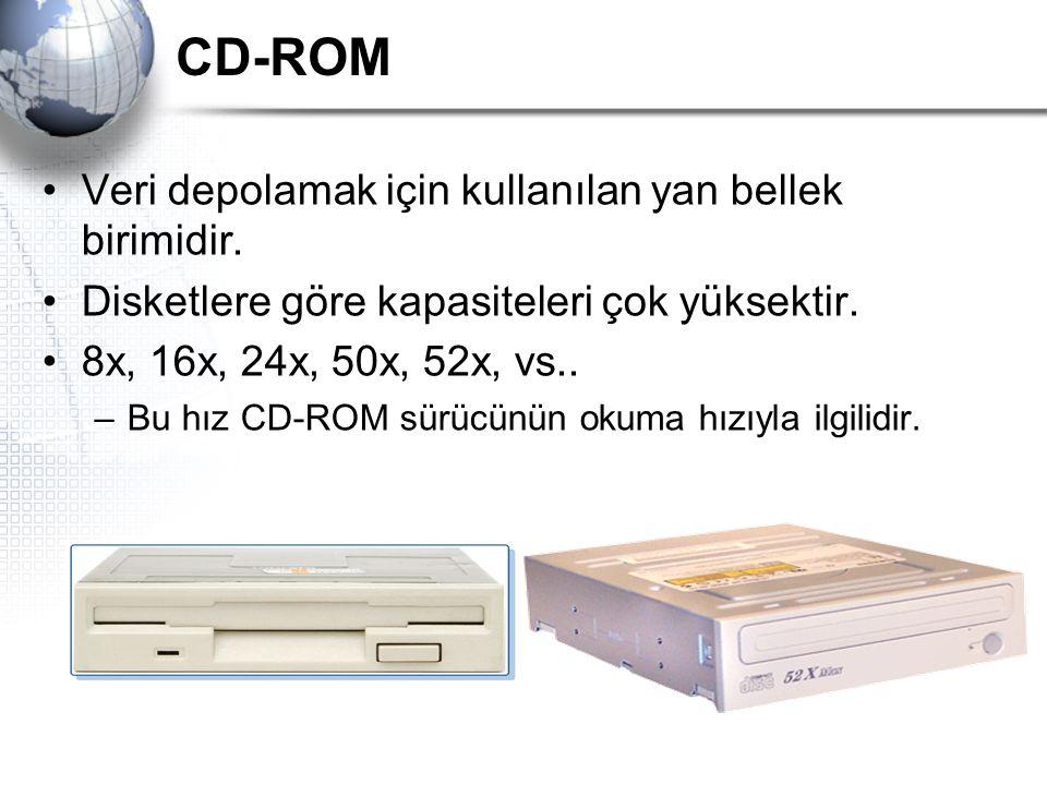 CD-ROM Veri depolamak için kullanılan yan bellek birimidir.