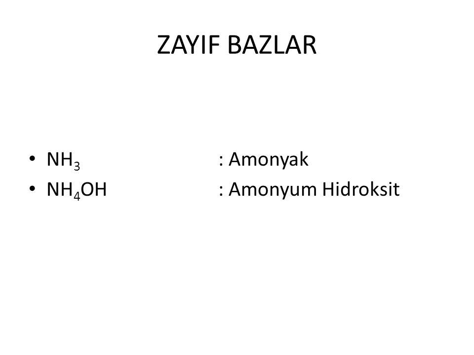 ZAYIF BAZLAR NH3 : Amonyak NH4OH : Amonyum Hidroksit