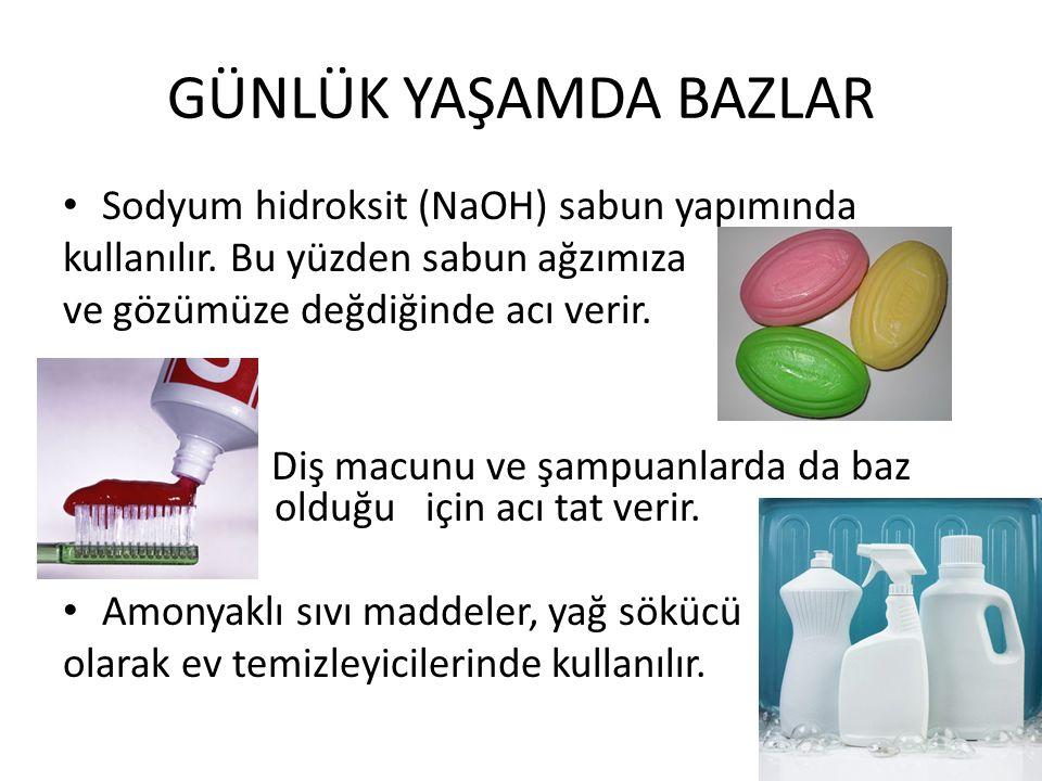 GÜNLÜK YAŞAMDA BAZLAR Sodyum hidroksit (NaOH) sabun yapımında