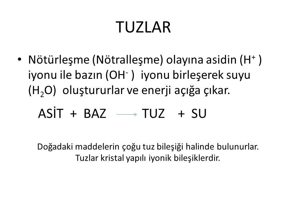 TUZLAR ASİT + BAZ TUZ + SU