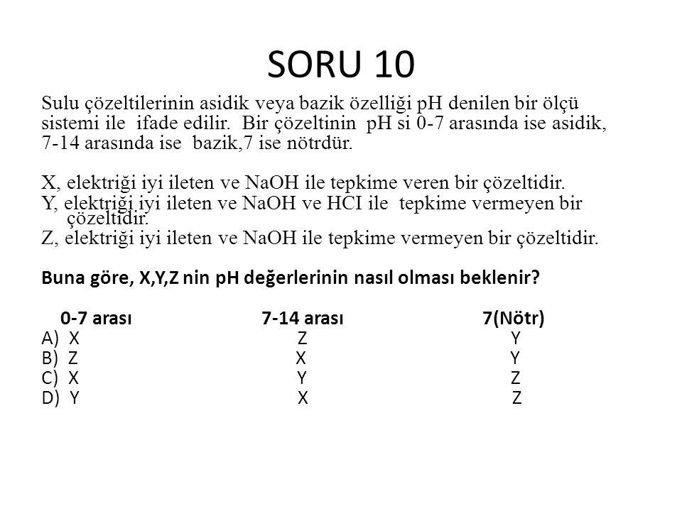 SORU 10 Sulu çözeltilerinin asidik veya bazik özelliği pH denilen bir ölçü.