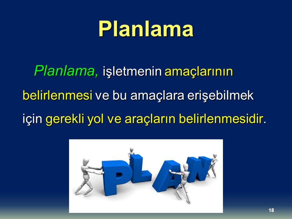 Planlama Planlama, işletmenin amaçlarının belirlenmesi ve bu amaçlara erişebilmek için gerekli yol ve araçların belirlenmesidir.
