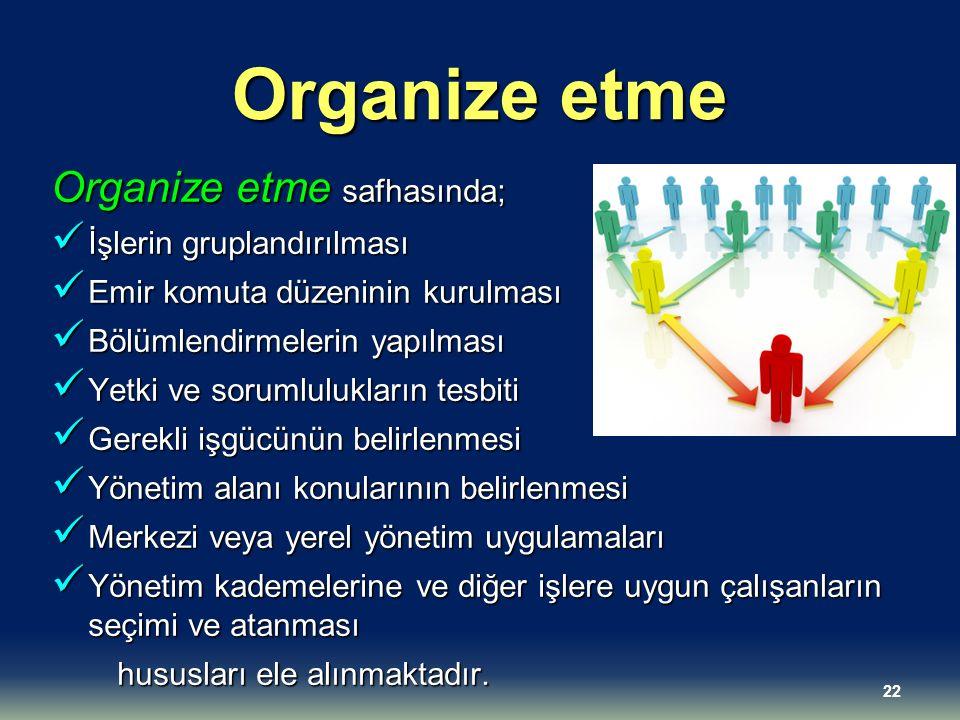Organize etme Organize etme safhasında; İşlerin gruplandırılması