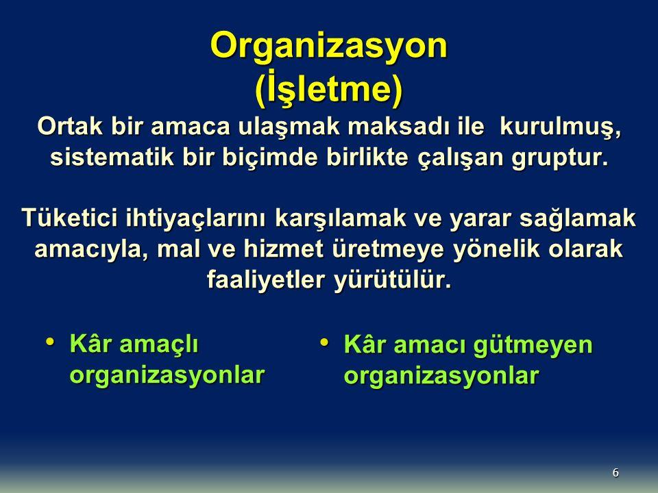 Organizasyon (İşletme) Ortak bir amaca ulaşmak maksadı ile kurulmuş, sistematik bir biçimde birlikte çalışan gruptur. Tüketici ihtiyaçlarını karşılamak ve yarar sağlamak amacıyla, mal ve hizmet üretmeye yönelik olarak faaliyetler yürütülür.