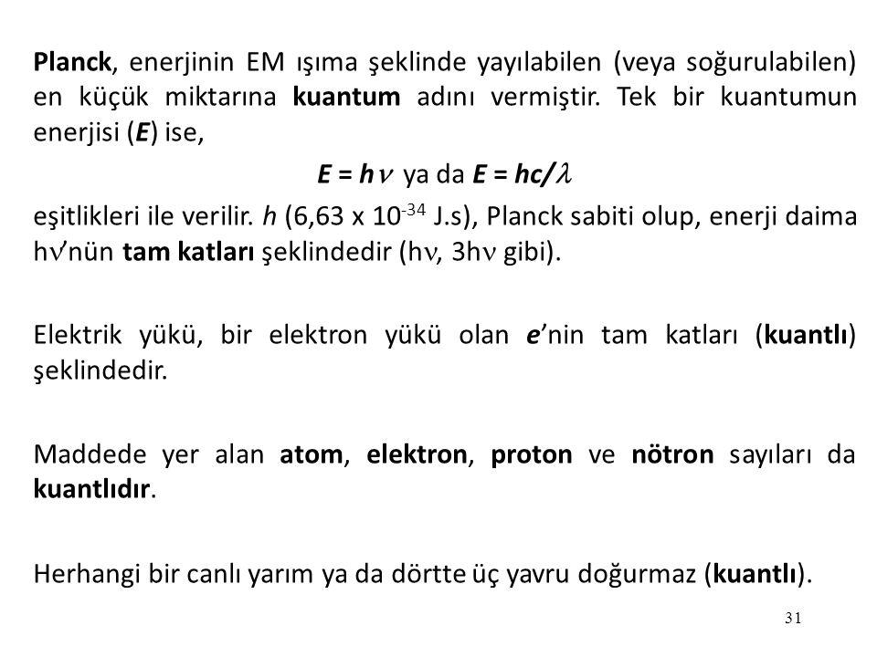 Planck, enerjinin EM ışıma şeklinde yayılabilen (veya soğurulabilen) en küçük miktarına kuantum adını vermiştir. Tek bir kuantumun enerjisi (E) ise,