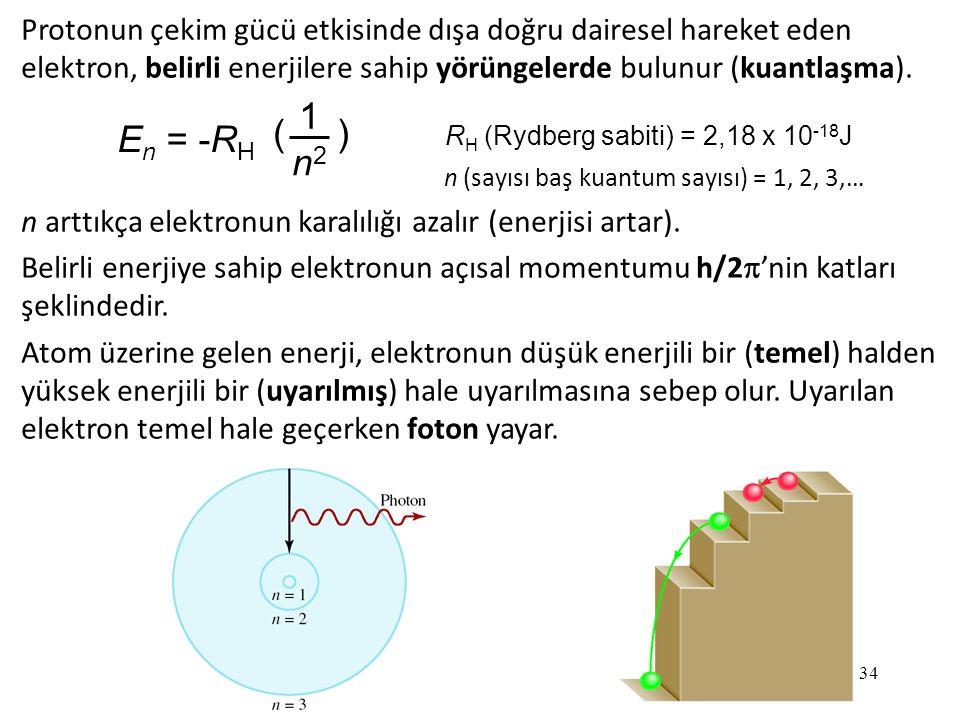 Protonun çekim gücü etkisinde dışa doğru dairesel hareket eden elektron, belirli enerjilere sahip yörüngelerde bulunur (kuantlaşma).