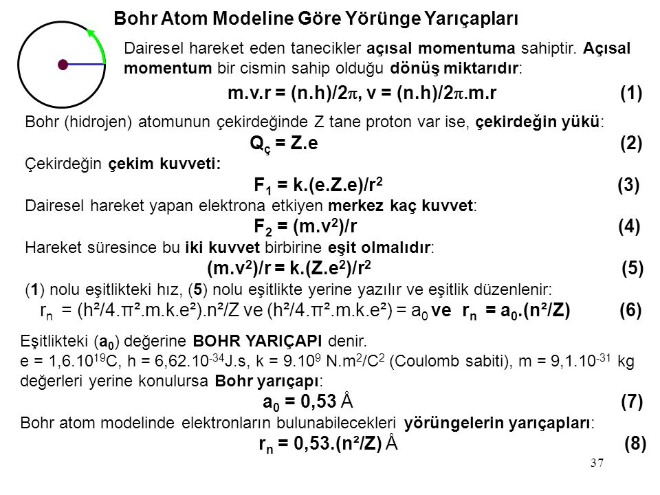 Bohr Atom Modeline Göre Yörünge Yarıçapları