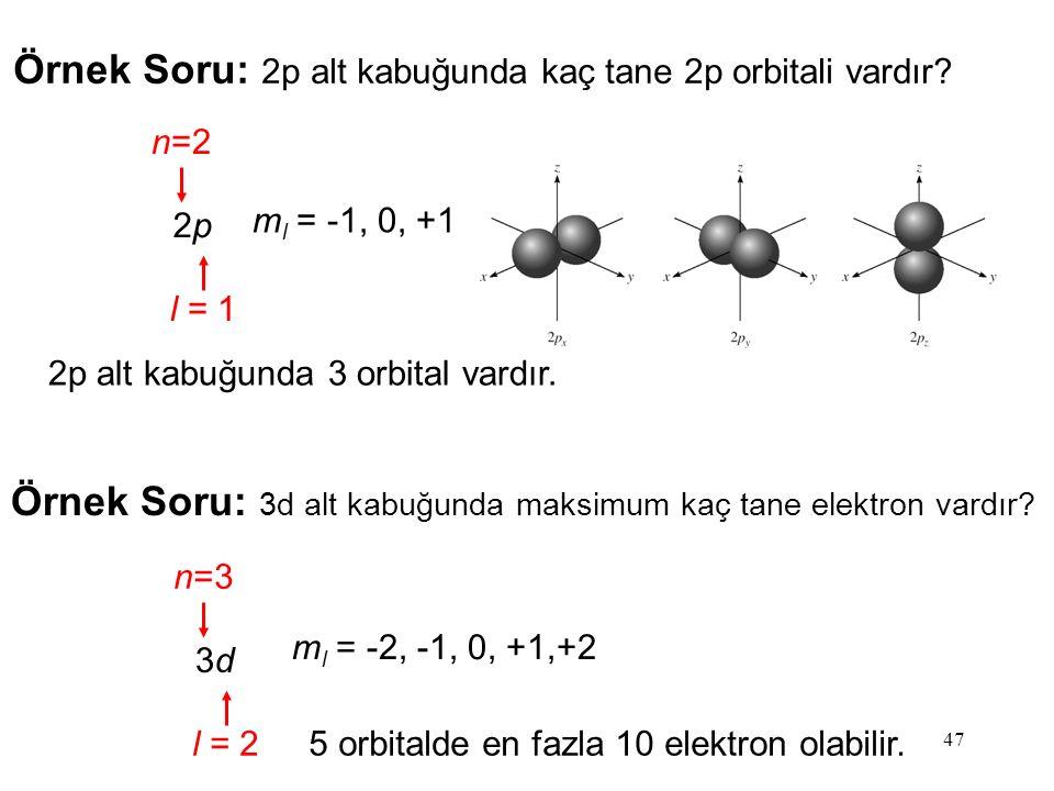Örnek Soru: 2p alt kabuğunda kaç tane 2p orbitali vardır
