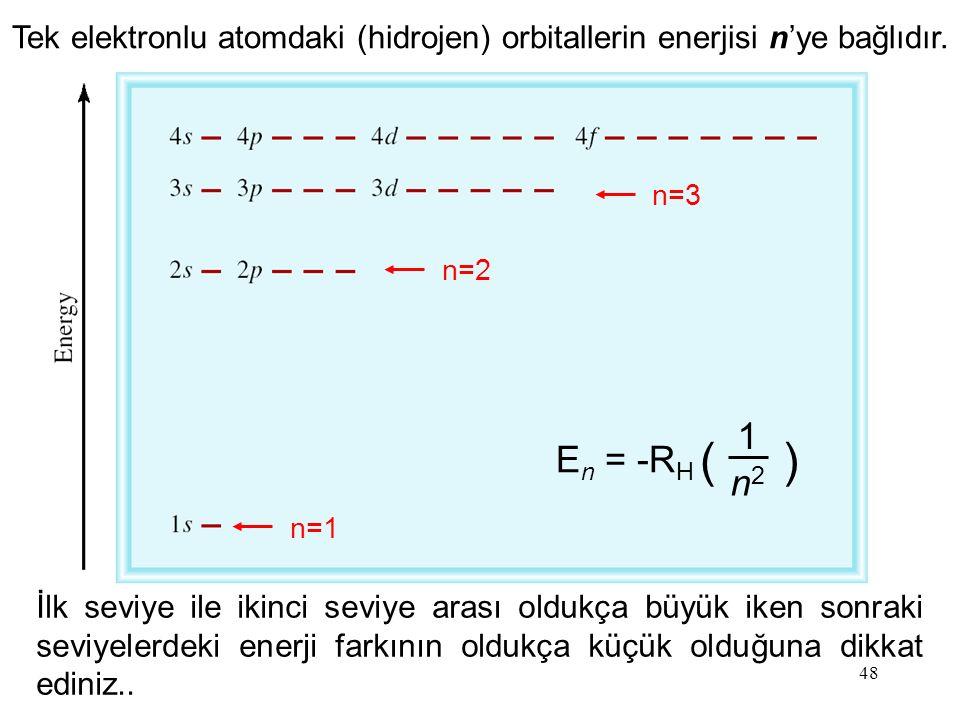 Tek elektronlu atomdaki (hidrojen) orbitallerin enerjisi n'ye bağlıdır.
