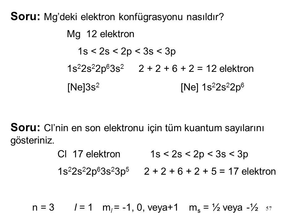 Soru: Mg'deki elektron konfügrasyonu nasıldır