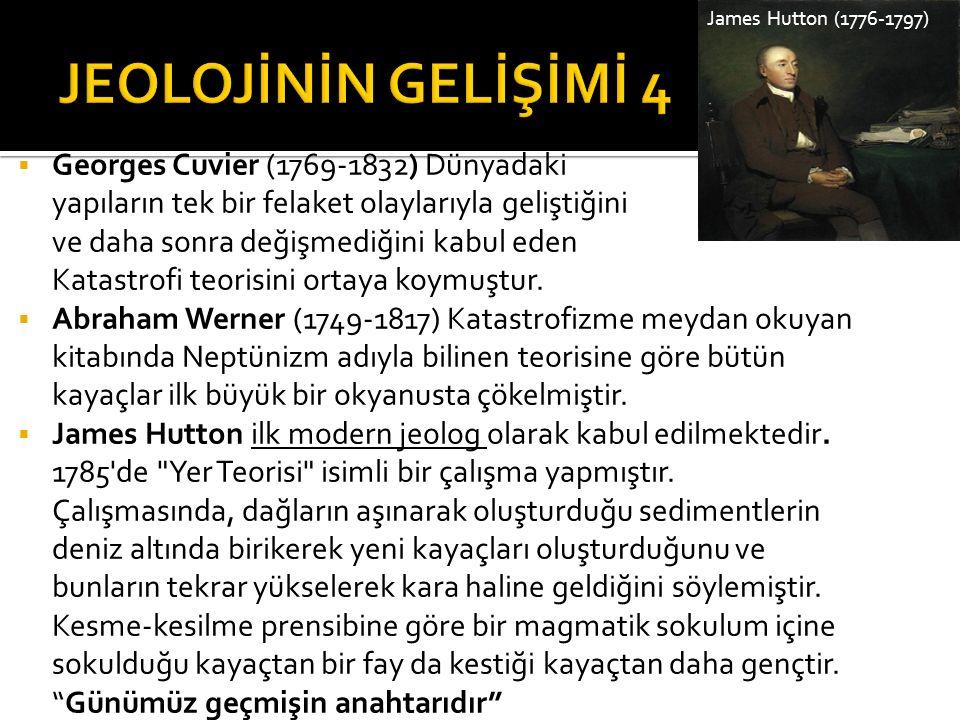 JEOLOJİNİN GELİŞİMİ 4 Georges Cuvier (1769-1832) Dünyadaki