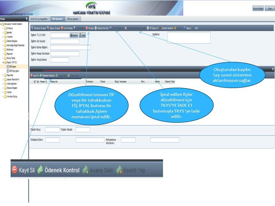 Oluşturulan kaydın Say 2000i sistemine aktarılmasını sağlar.
