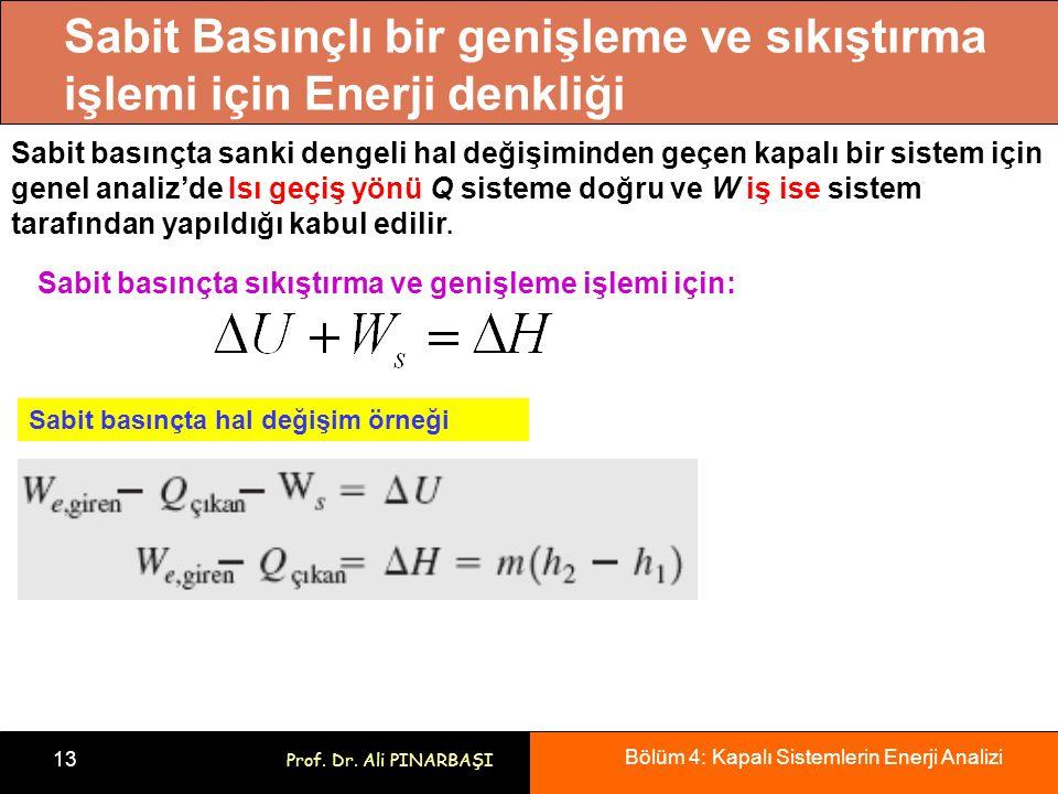 Sabit Basınçlı bir genişleme ve sıkıştırma işlemi için Enerji denkliği