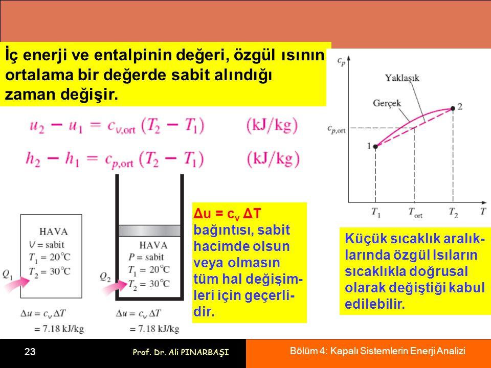 İç enerji ve entalpinin değeri, özgül ısının ortalama bir değerde sabit alındığı zaman değişir.